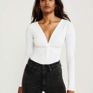 White Twist Long Sleeve Bodysuit